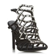 Dune Moonstone jewel caged high dressy heels