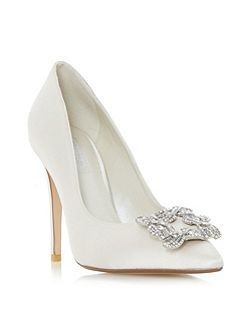 Breanna jewelled brooch court shoes