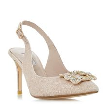 Dune Daphnie Jewelled Square Brooch Slingback Court Sh