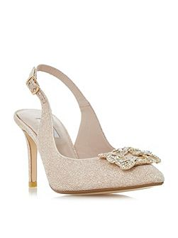 Daphnie Jewelled Square Brooch Slingback Court Sh