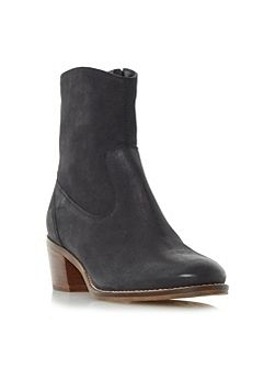 Pocket causal block heel ankle boot