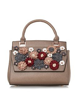 Daisy floral applique embellished handbag
