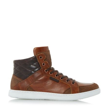 Dune Sherlock quilted collar hi-top trainers