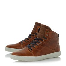Dune Springer sleek leather hi-top trainers