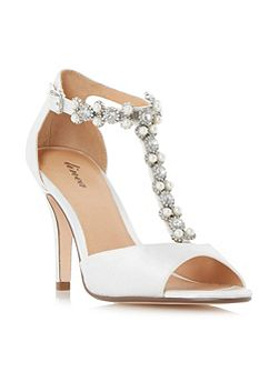 Myra jewel and pearl t-bar peep toe sandals