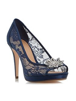 Darlia jewelled flower trim court shoe