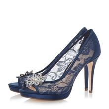 Linea Darlia jewelled flower trim court shoe