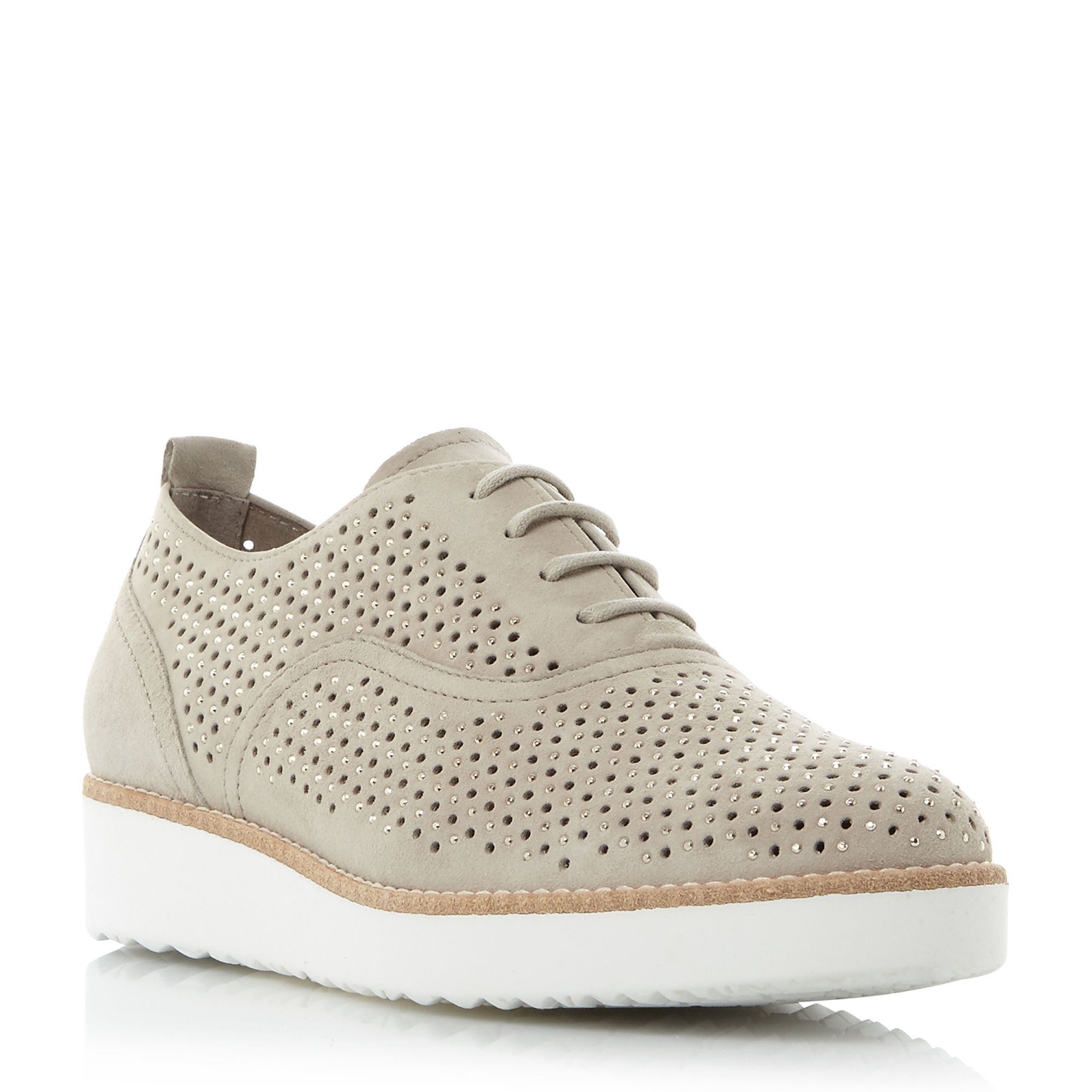Gabor Castelian punched lace up trainers, White