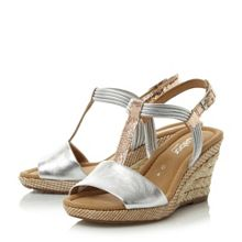 Gabor Jess metallic t-bar wedge sandals