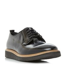 Dune Black Bilbo hi-shine gibson wedge shoes