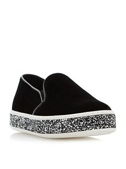 Exchange giltter sole slip on shoes