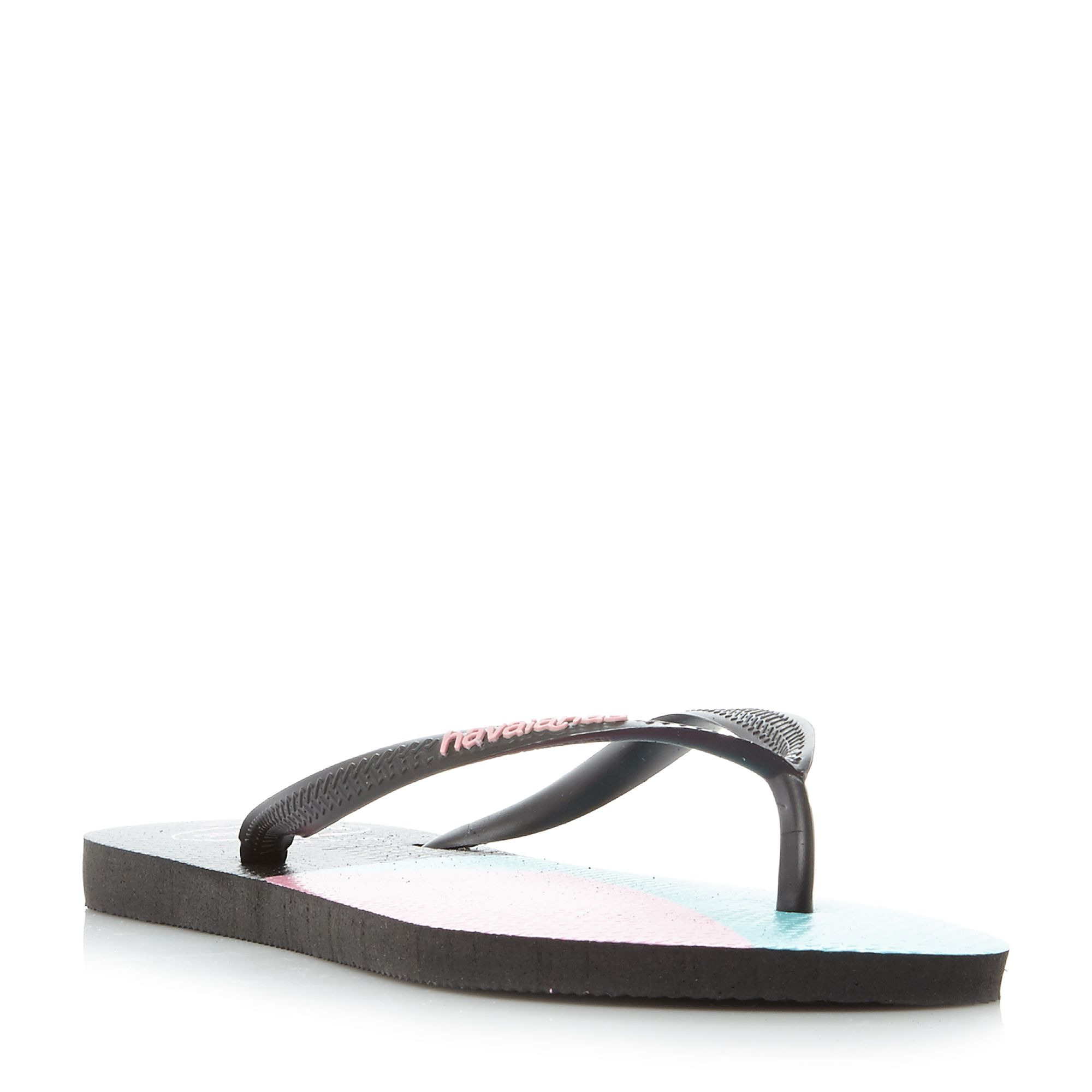 Havaianas 4136845 Colour Block Slim Flip Flops, Black