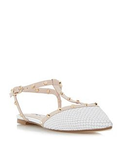 Cayote studded t-bar open back flat shoe
