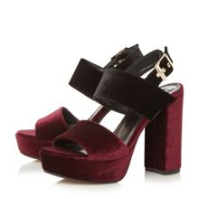 Dune Mckenna velvet two part platform sandals