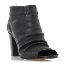 Dune Black Jakie peep toe block heel booties