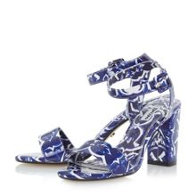Dune Myko blue tile print 2 part sandals