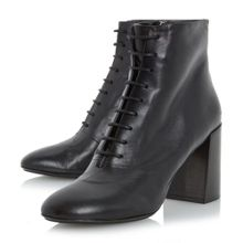 Dune Black Ochre Lace Up Flared Heel Boots