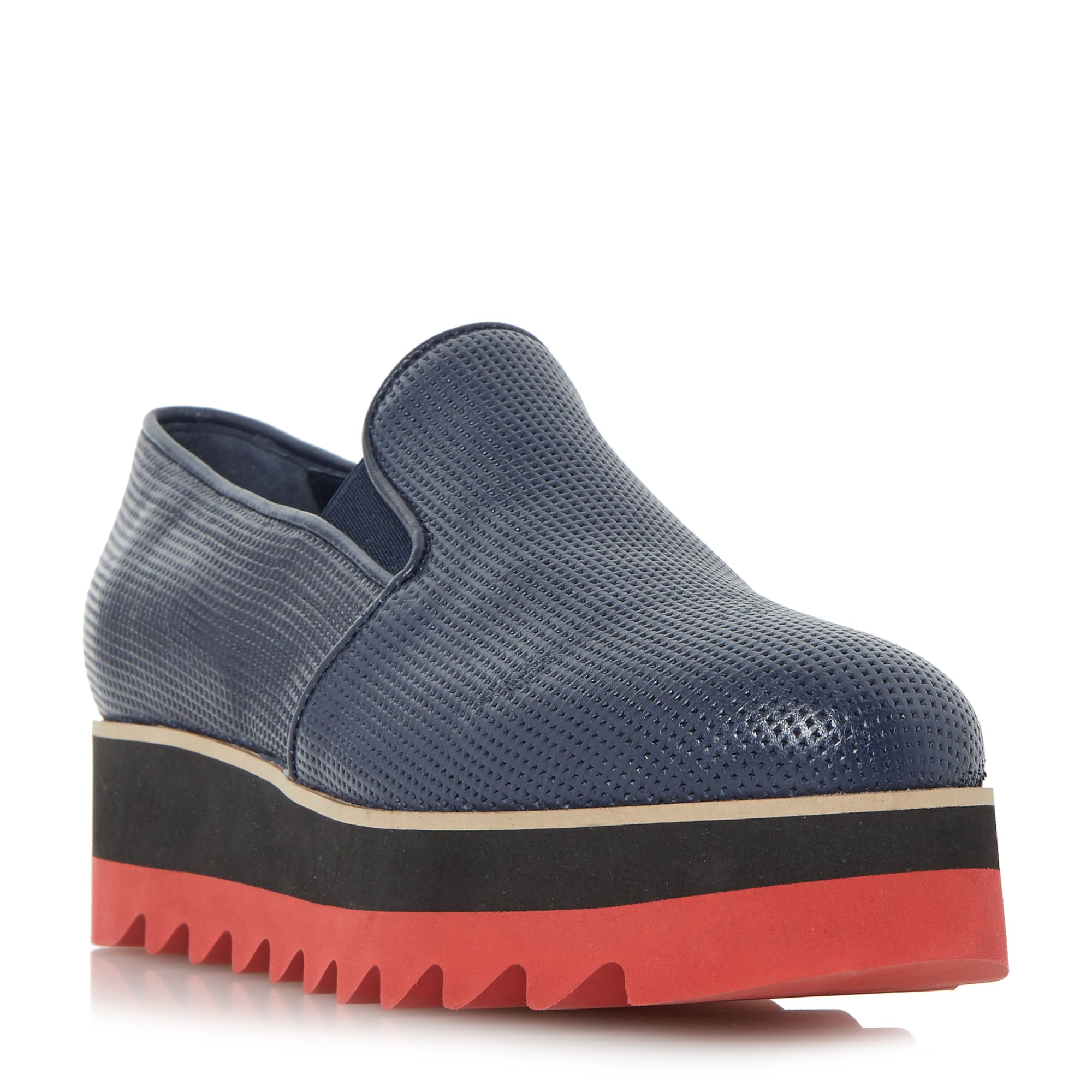 Dune Black Gloss shark tooth loafers, Blue