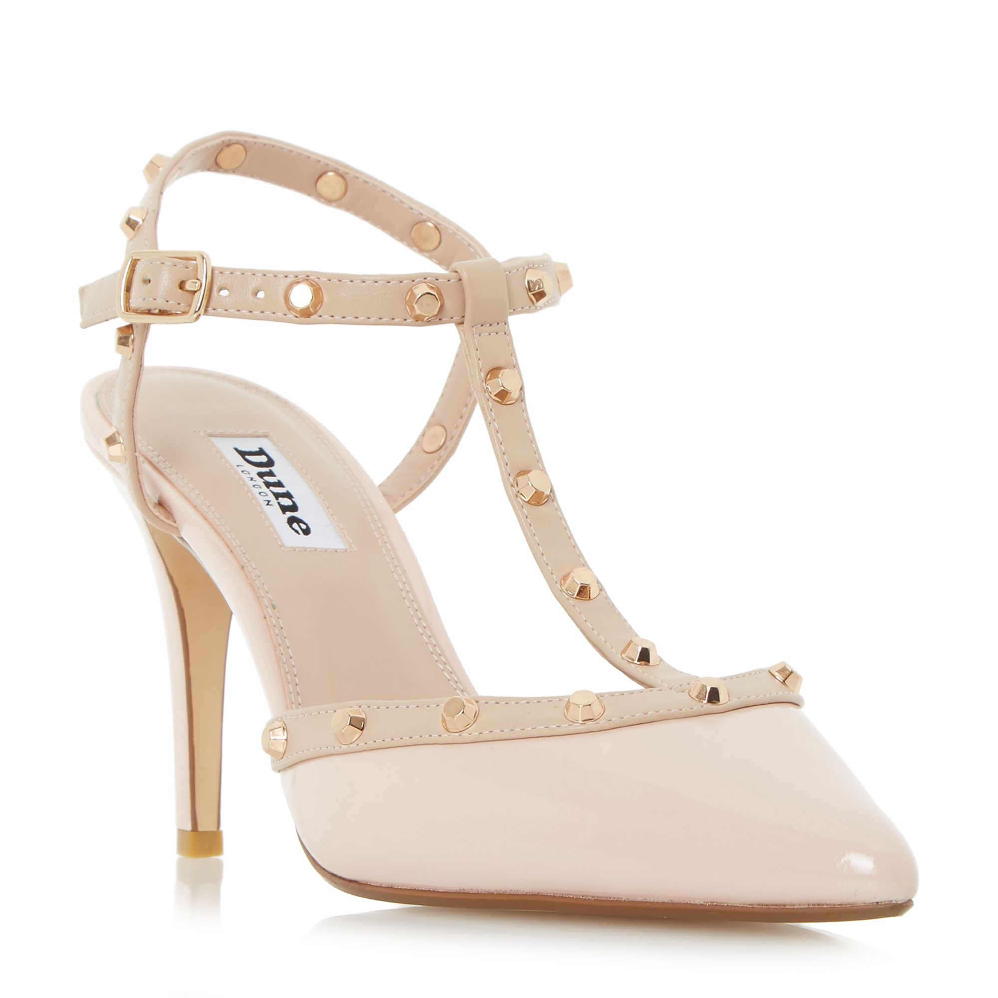 Dune Catelyn Studded TBar Court Shoes Beige
