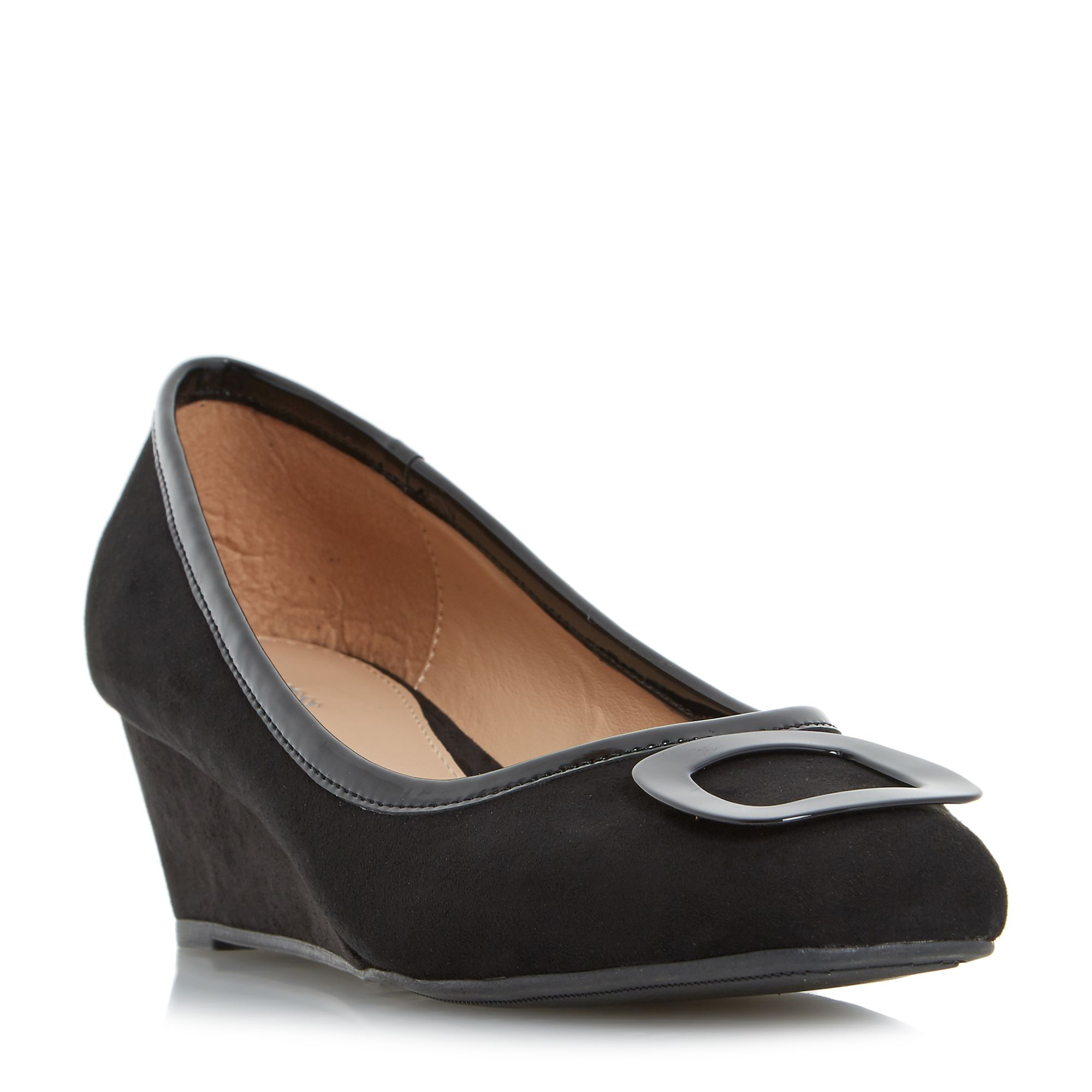 Linea Anex Brooch Detail Wedge Court Shoes, Black