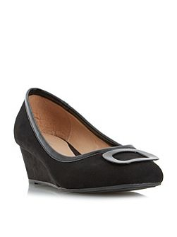 Anex Brooch Detail Wedge Court Shoes