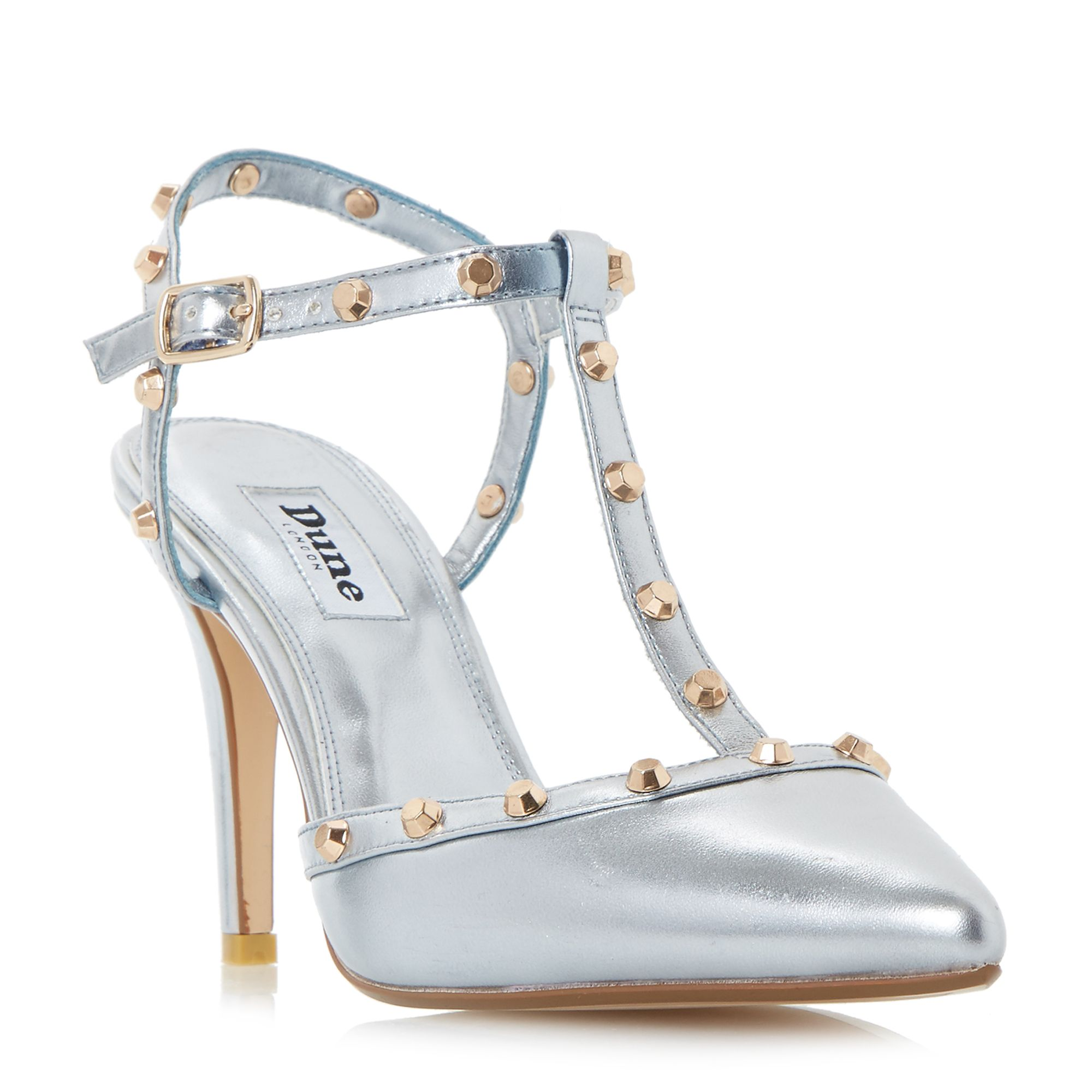 Dune Catelyn Studded TBar Court Shoes Blue
