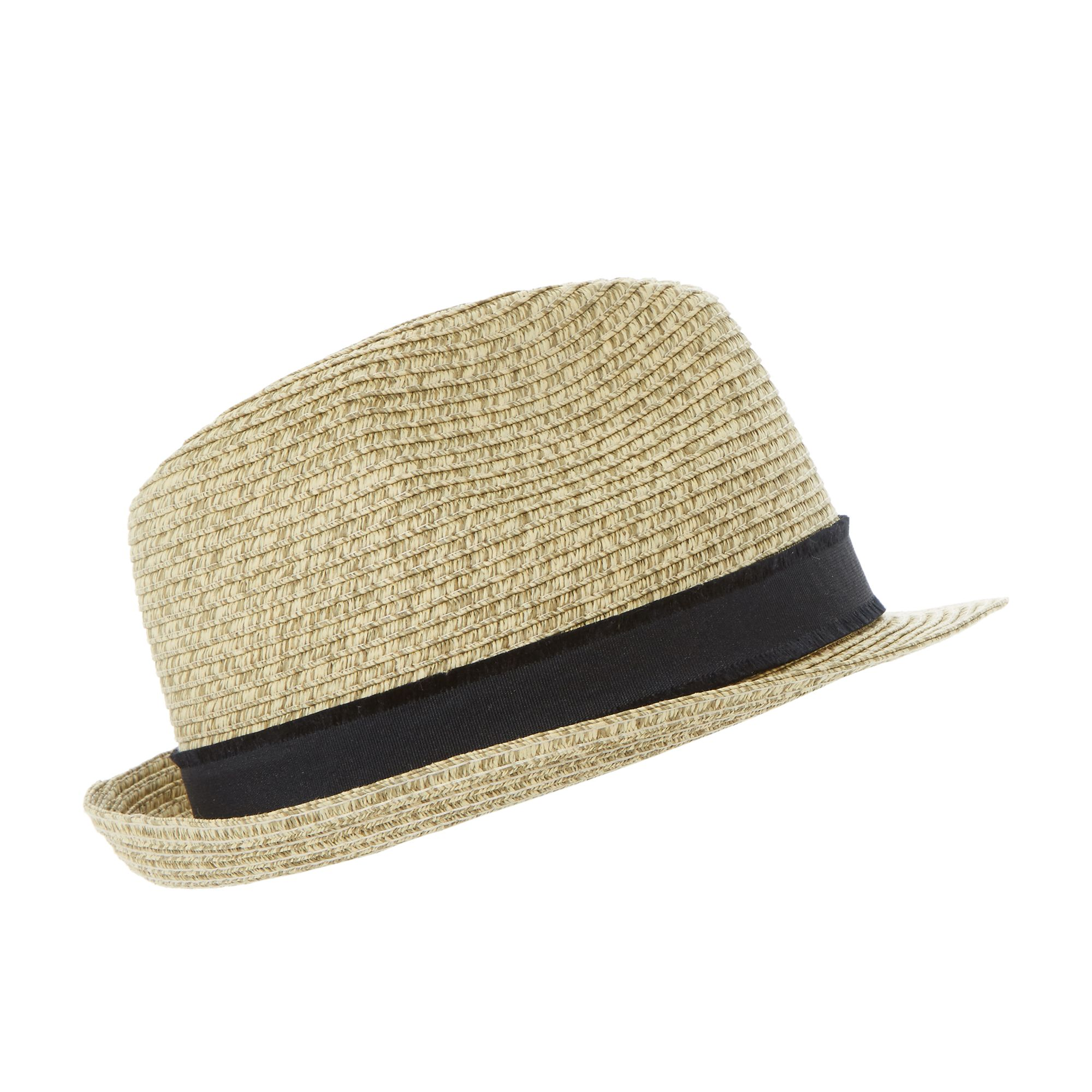 Dune Naples braided straw trilby hat Natural