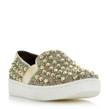 Dune Elma stud glitter slip on shoes