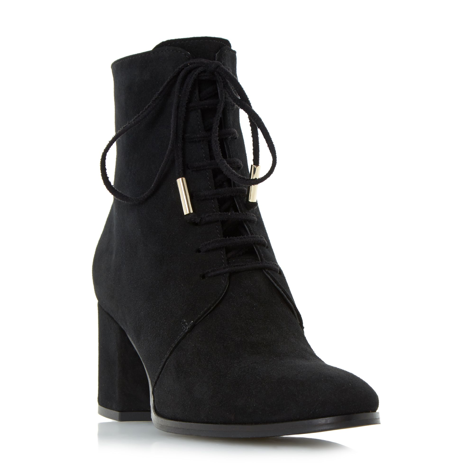 Dune Olita lace up block heel ankle boots Black