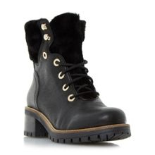 Dune Rochelle shearling cleated boots