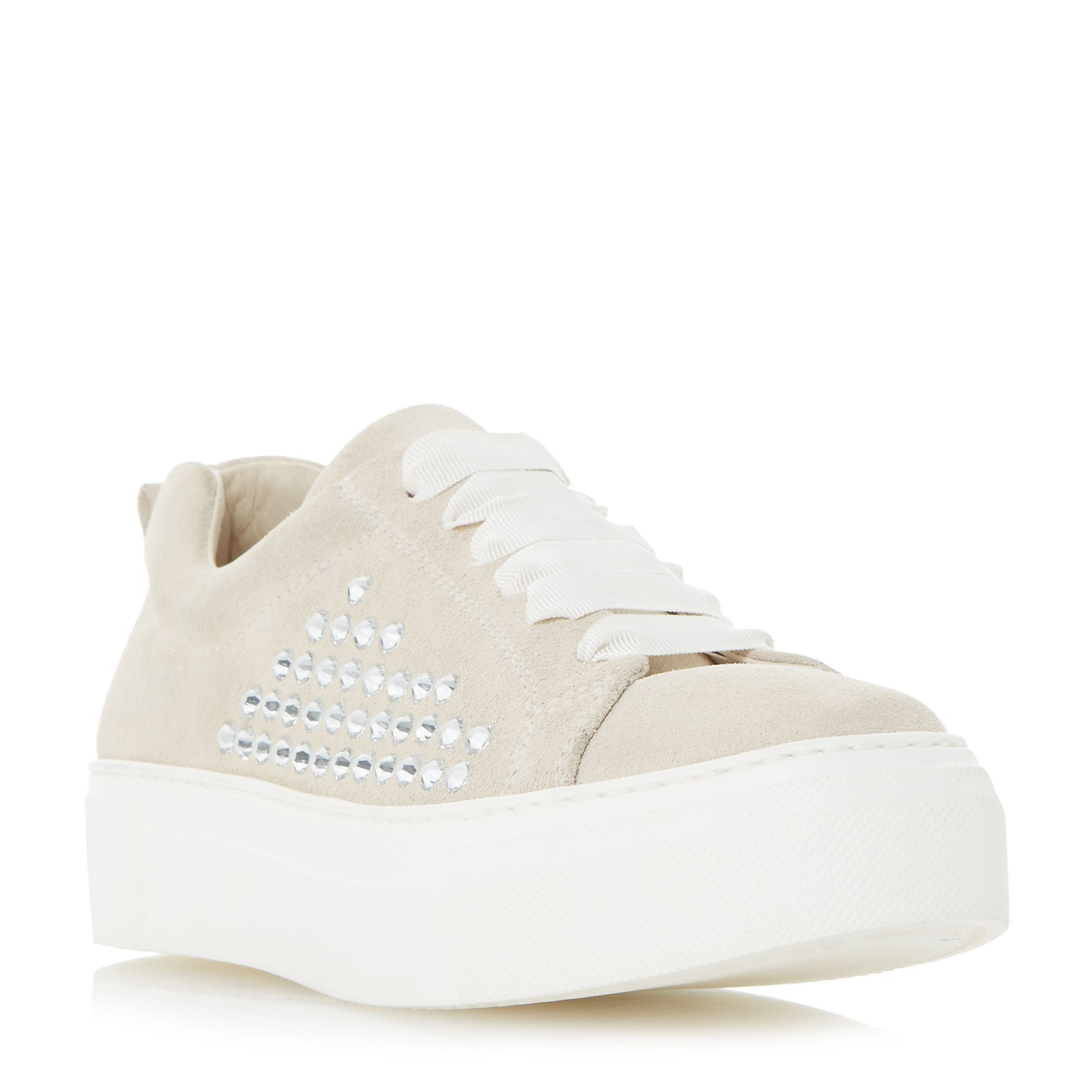 Dune Black Enchanted gem detail lace up trainers, White