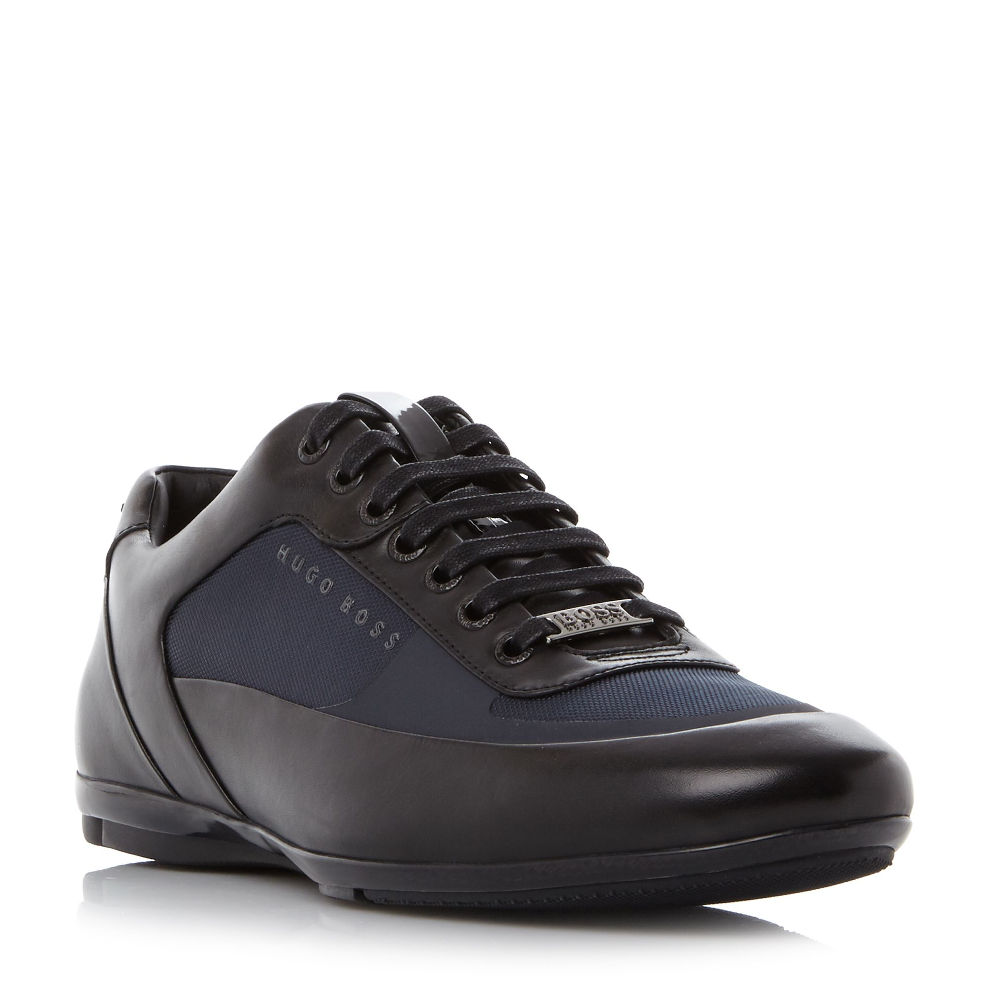 Hugo Boss Racing Mixed Material Lace Up Trainers Navy