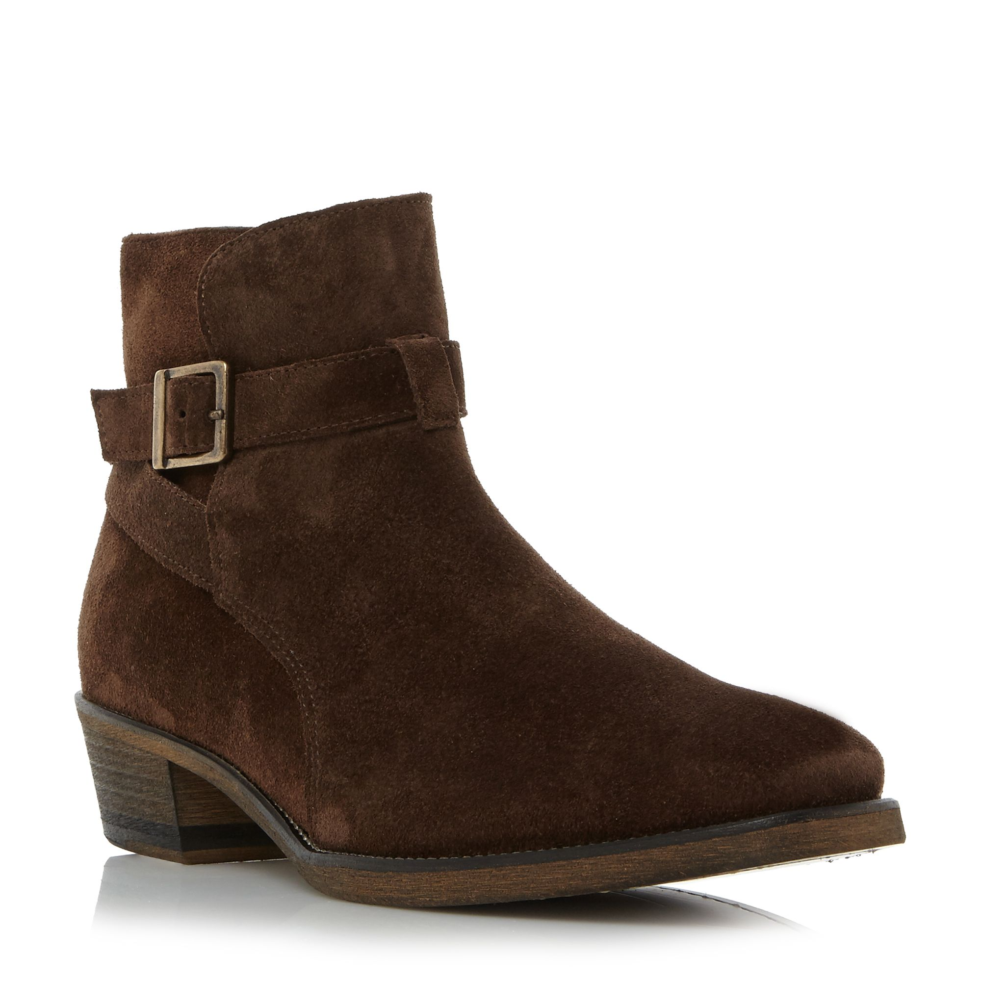 Bertie Cubaa buckle cuban heel boots Dark Brown
