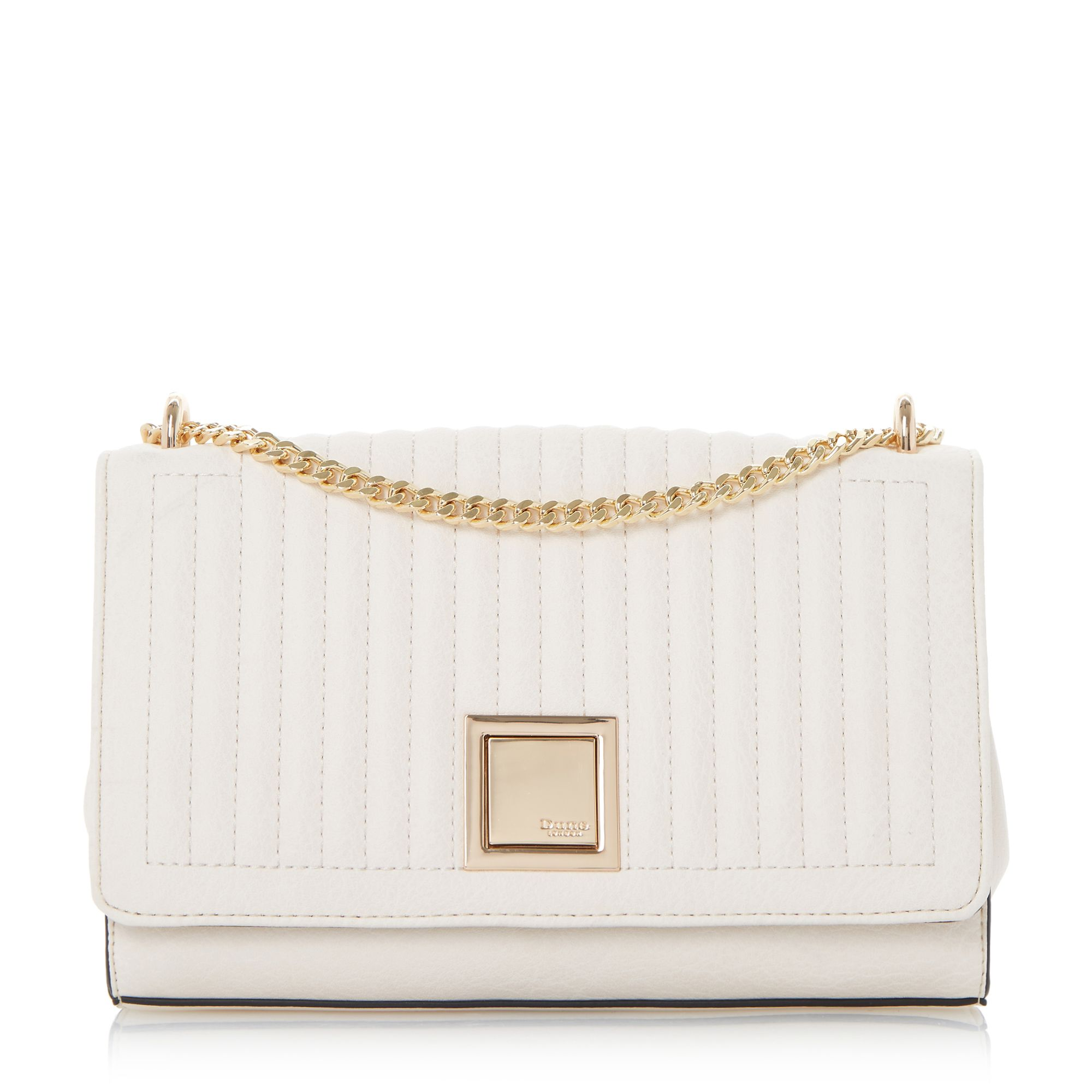 Dune Edwyn quilted square clutch bag Cream