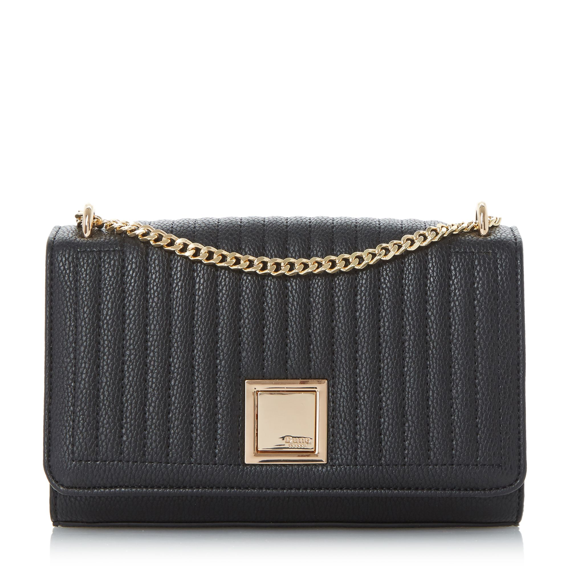 Dune Edwyn quilted square clutch bag Black