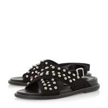 Dune Black Loyal stud cross vamp sandals