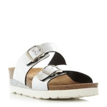 Dune Lucki double buckle footbed sandals