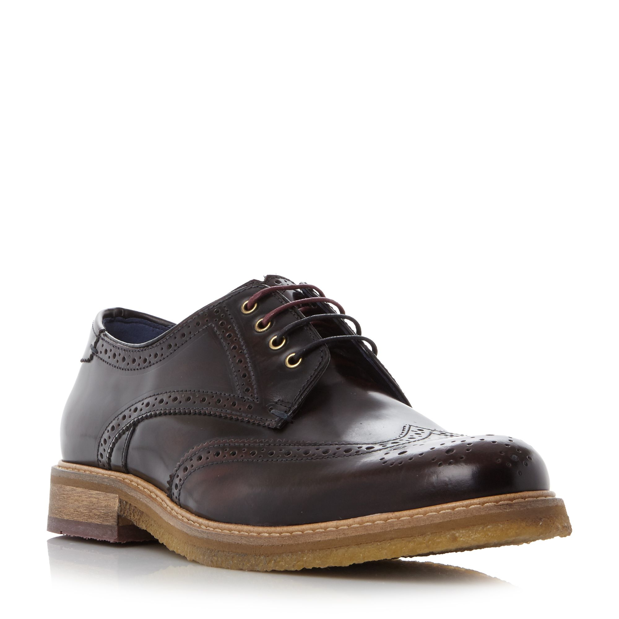 Ted Baker Prycce Wingtip Gibson Brogue Shoes Bordeaux