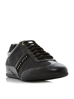 Space nylon and leather trainer