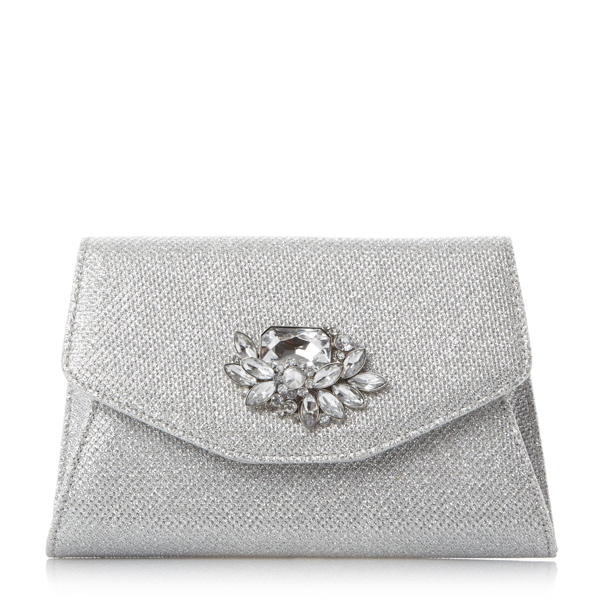 Head Over Heels Bintle Embellished Clutch Bag Silver