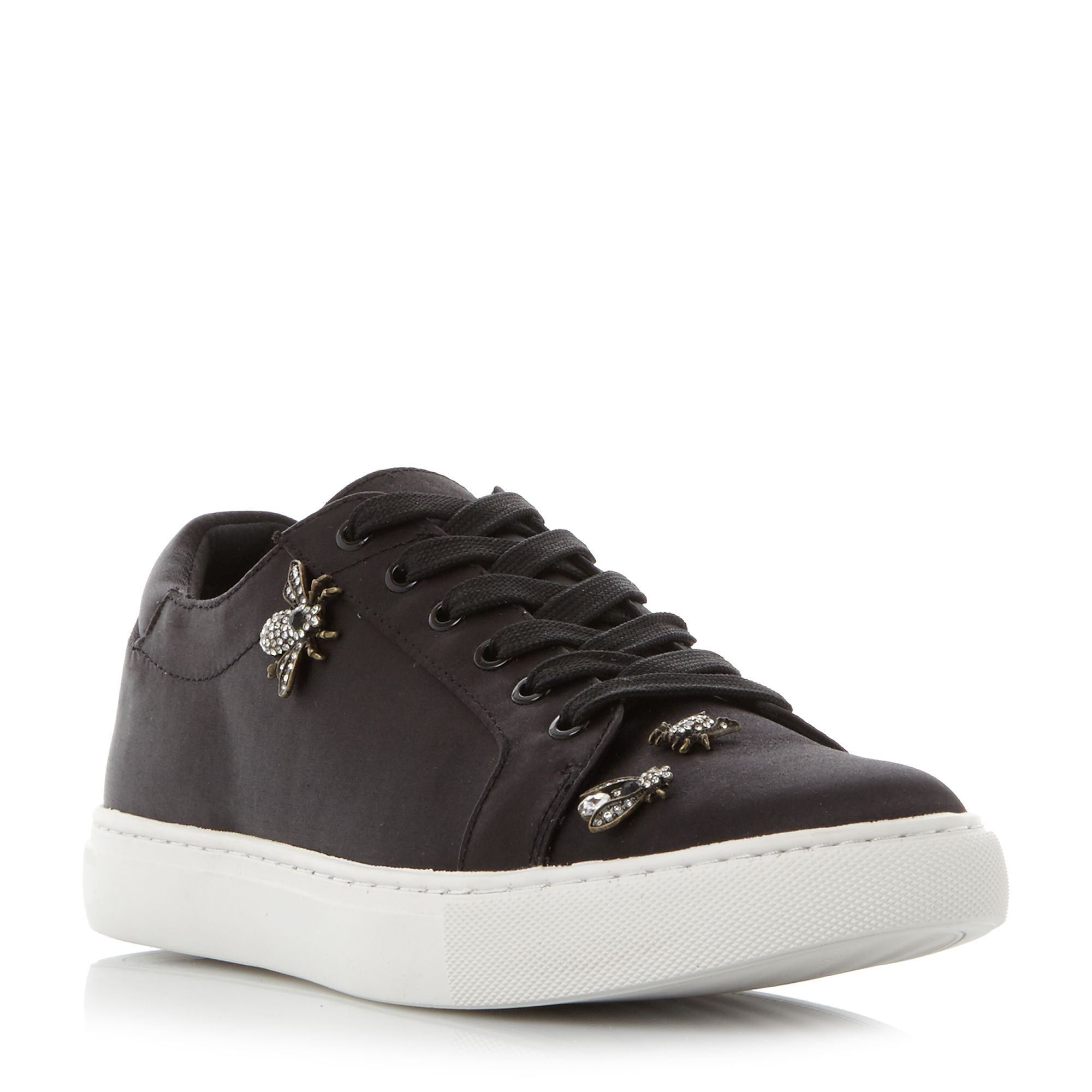 Kenneth Cole Kam 8 Embellished Satin Trainers, Black