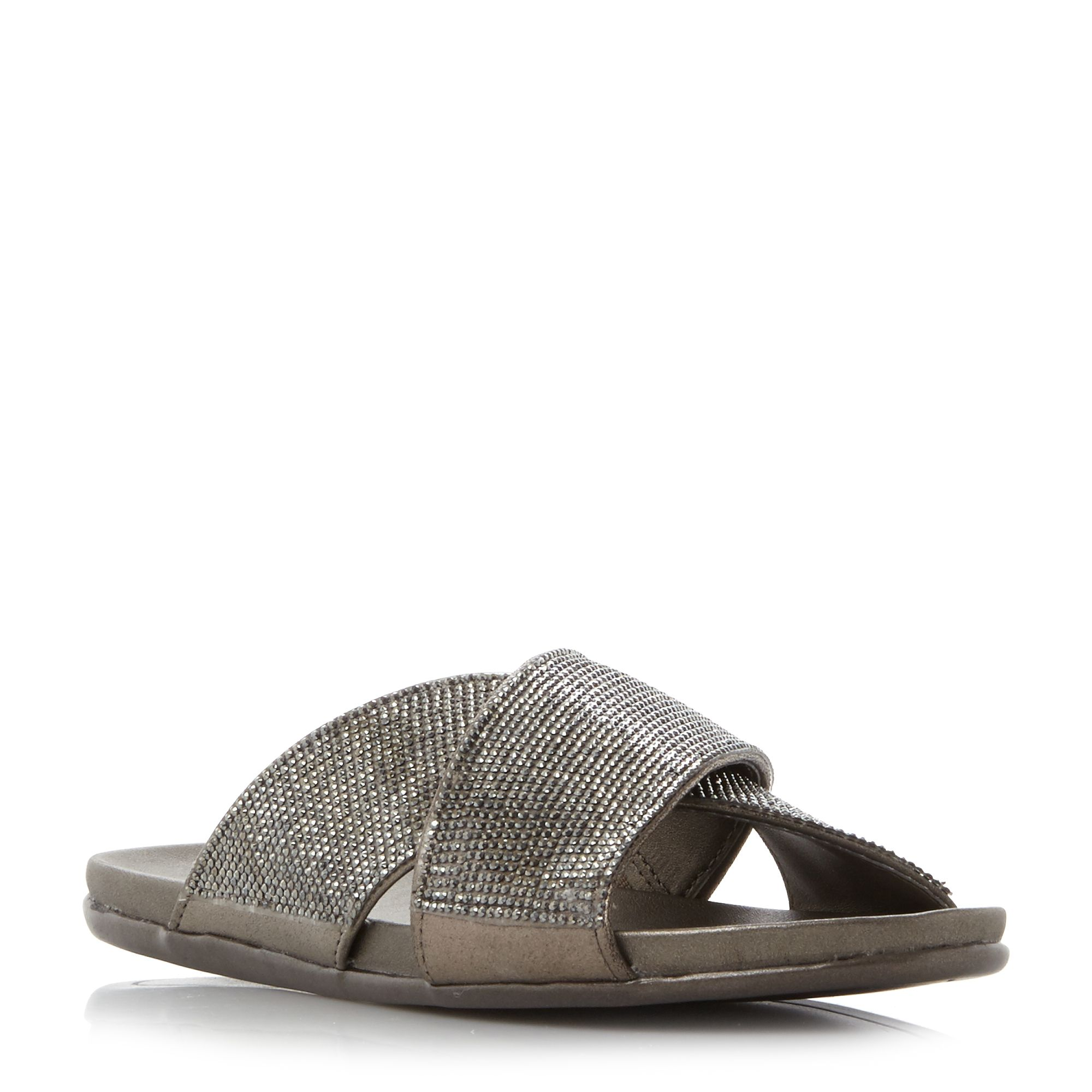 Kenneth Cole Slim Jam Jewelled Crossover Flip Flop Sandals, Pewter