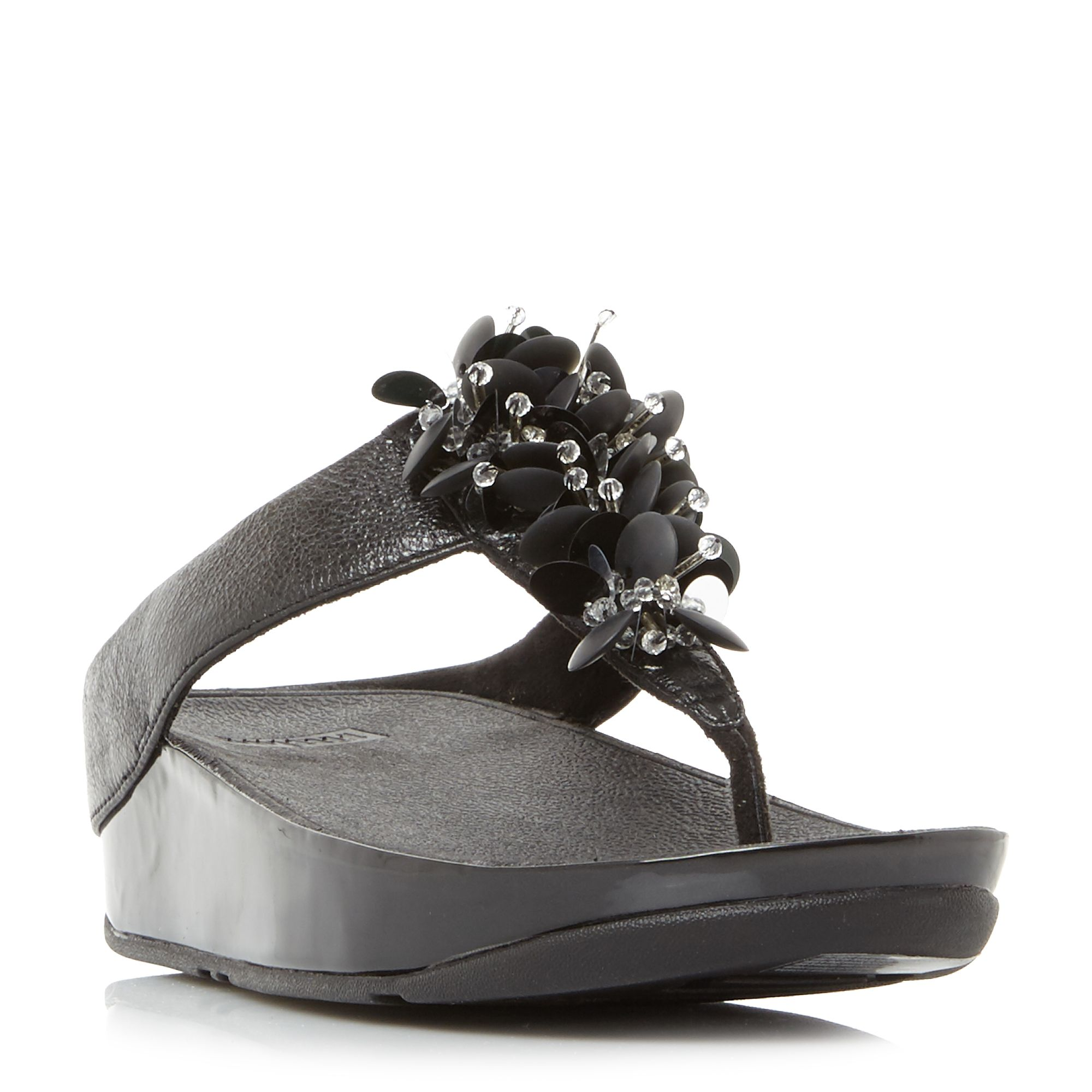 FitFlop Boogaloo Embellished Toepost Sandals, Black