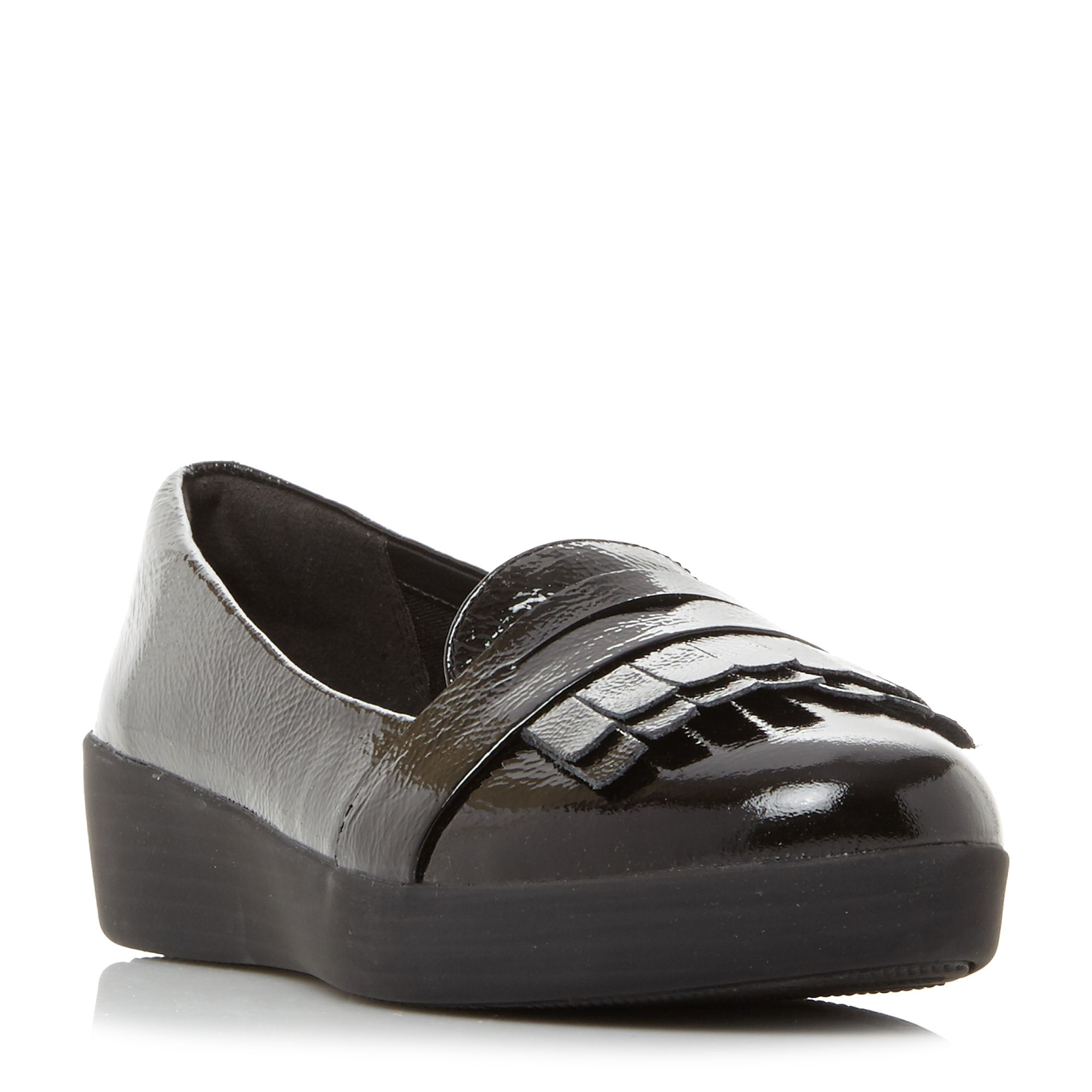 FitFlop Fringey Sneaker Patent Fringed Loafers, Black