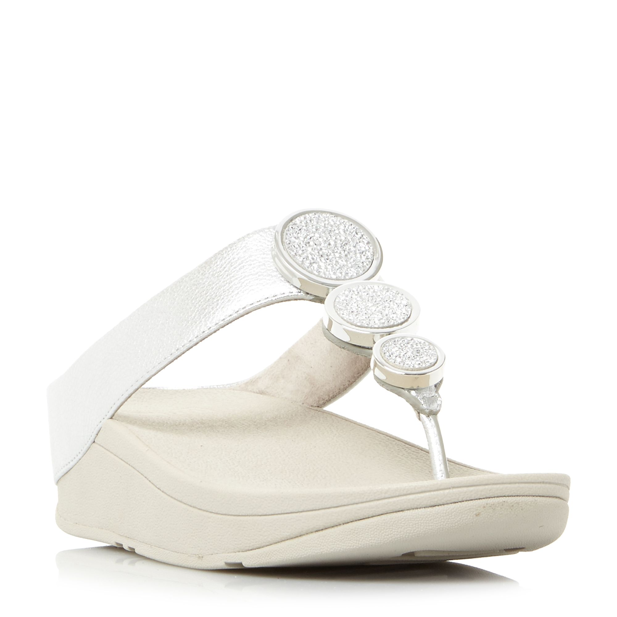 FitFlop Halo Metal Trim Toepost Wedge Sandals, Silver