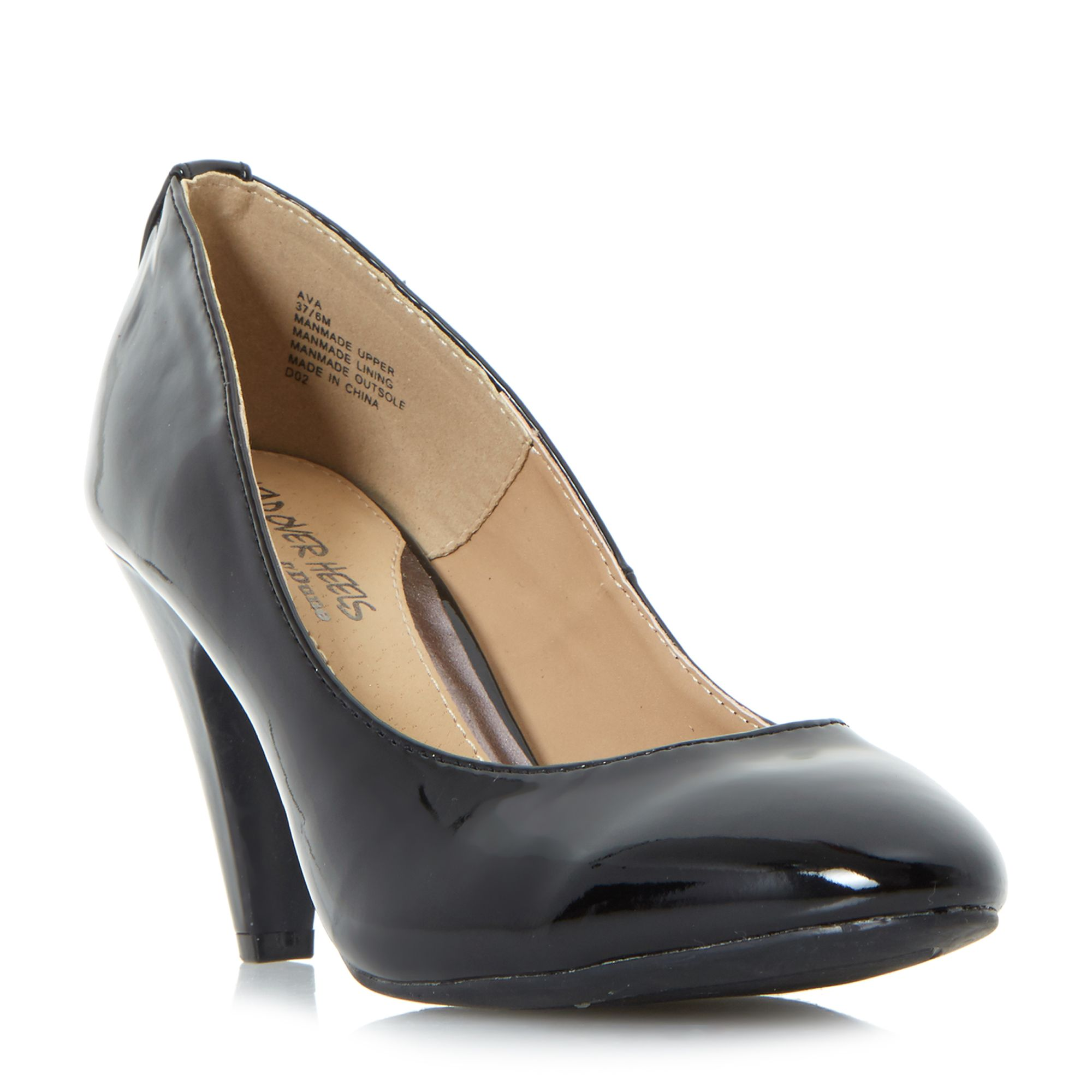 Head Over Heels Ava Low Point Court Shoes, Black
