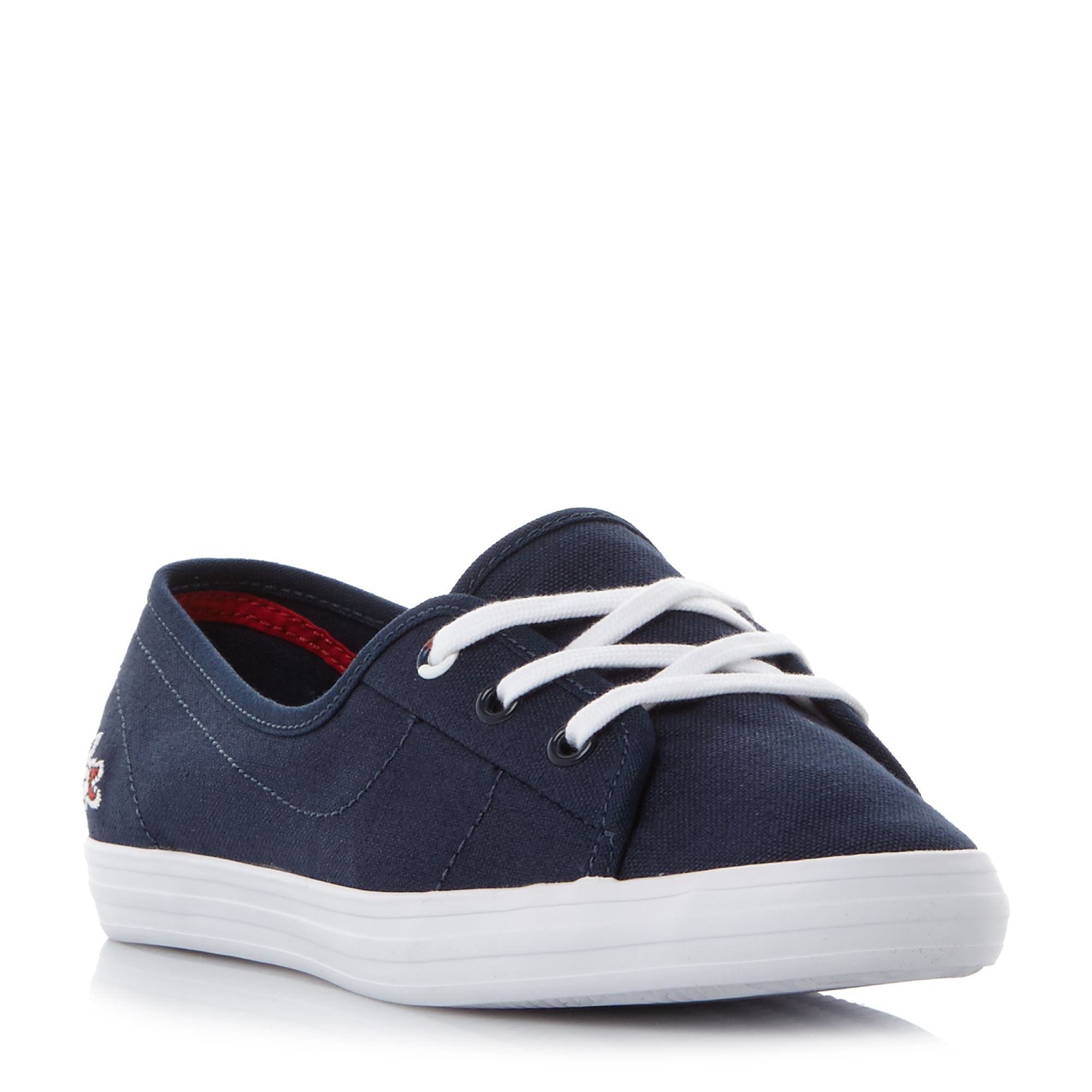 Lacoste Ziane Chunky Lace Up Canvas Pump Shoes, Blue
