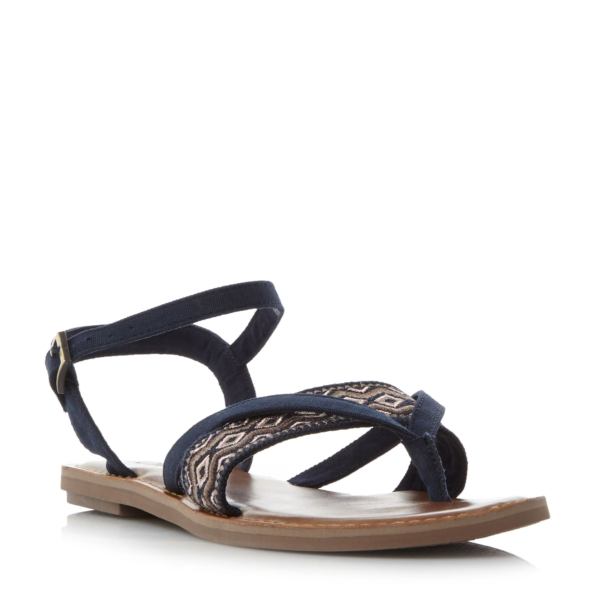 Toms Lexie Embroidered Flat Sandals, Blue