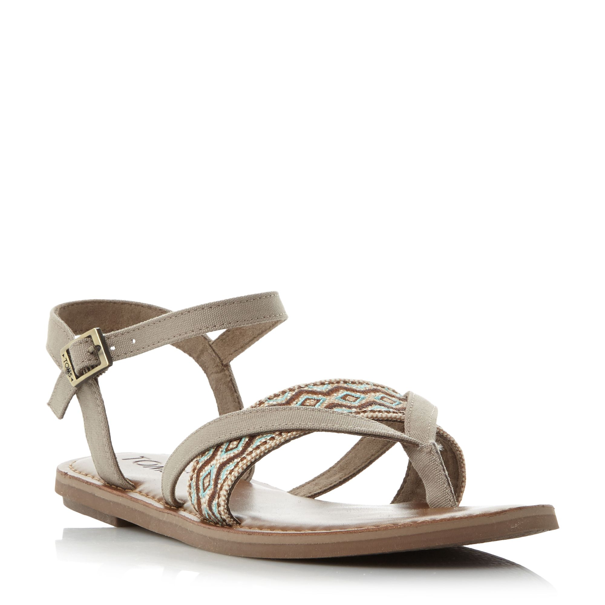 Toms Lexie Embroidered Flat Sandals, Neutral
