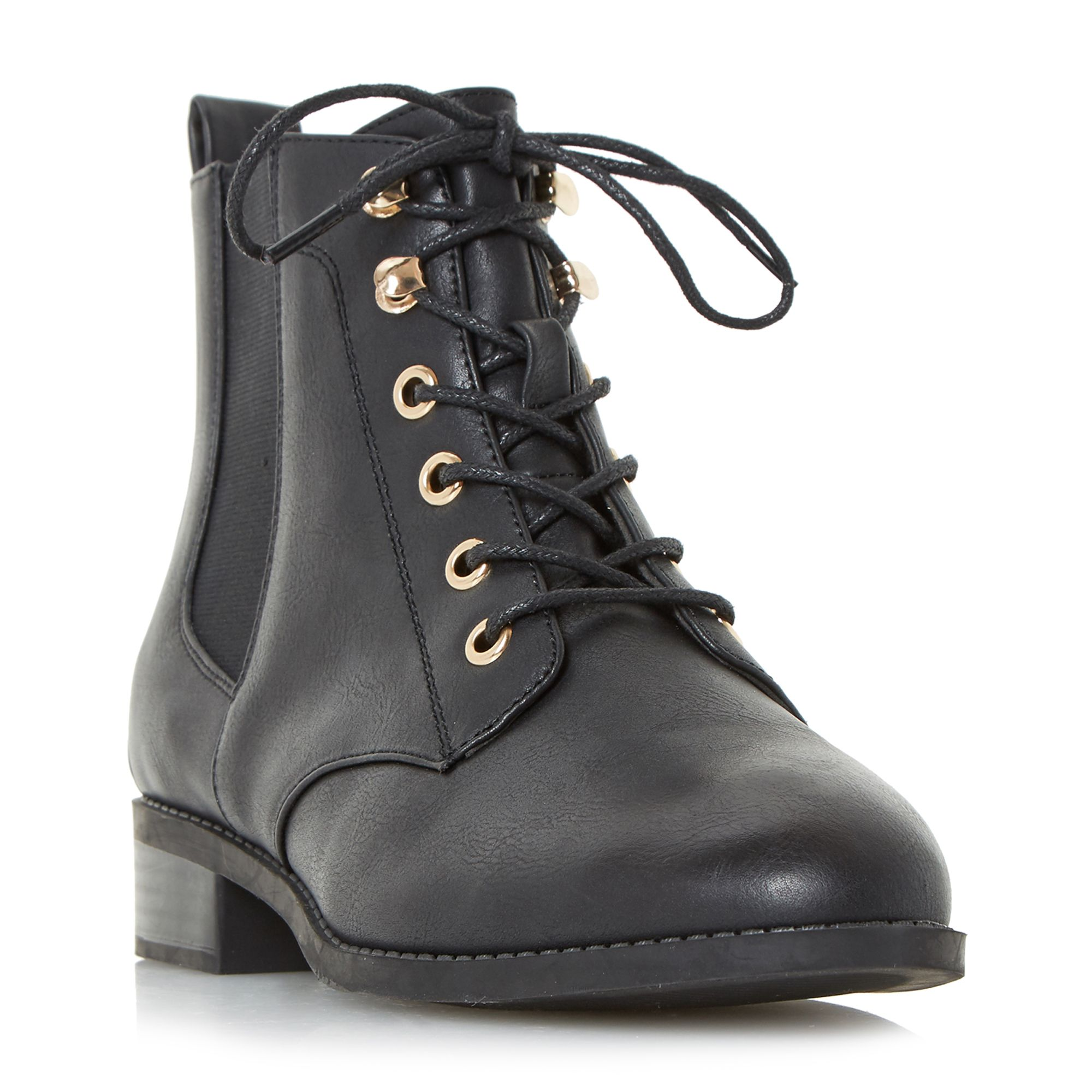 Click to view product details and reviews for Head Over Heels Peggie Lace Up Chelsea Ankle Boots Black.